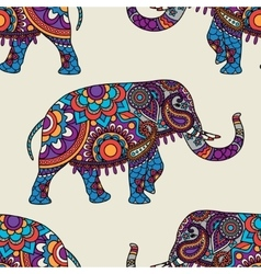 Doodle indian elephant seamless pattern vector