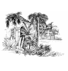 Hand drawn sketch tropical resort vector image