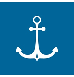 Marine anchor isolated on blue vector