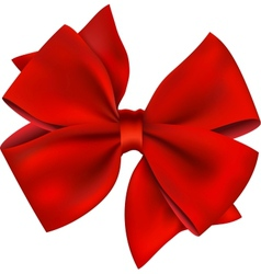 Red Bow And Ribbon Gift Isolated On White vector image
