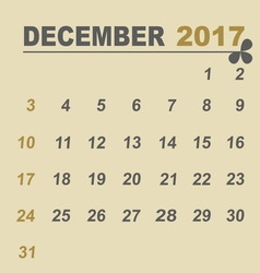 Simple calendar template of december 2017 vector