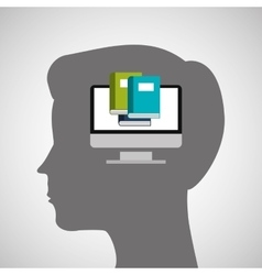 silhouette head boy education online vector image