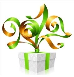 Green ribbon and gift box symbol of new year 2017 vector