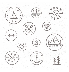Set of hand drawn badges outdoor camping tribe vector