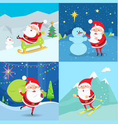 collection of santa claus characters four banners vector image