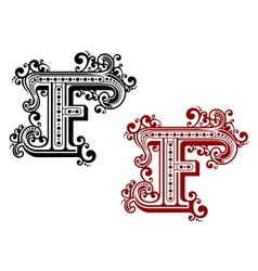 Vintage letter f with decorative elements vector