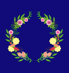 Abstract circle with flowers vector image