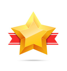 3d gold star and red ribbon vector image