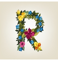 R letter flower capital alphabet colorful font vector