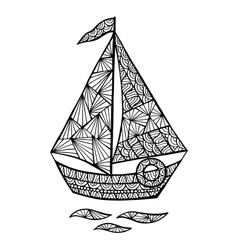 Stylized sailboat zentangle vector