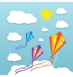 Three kites in the sky vector