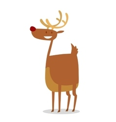 Happy cartoon christmas reindeer vector