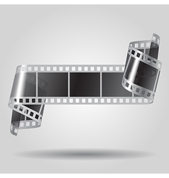 Curled film strip in black and white colors vector