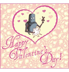 Valentine Greeting Card with Robot vector image