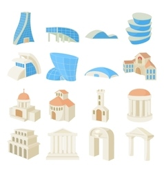 Architecture set icons vector