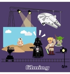 Film shootings camera and projector vector