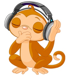 Cute little monkey listening music vector