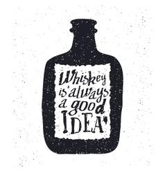 Whiskey bottle and handwritten lettering vector