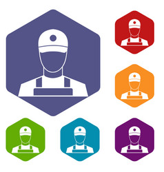 A man in a cap and uniform icons set vector