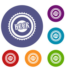 beer bottle cap icons set vector image vector image