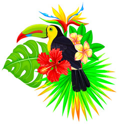 Bright tropical composition with toucan palm and vector