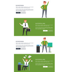 businessman and successful man cartoon banners vector image vector image