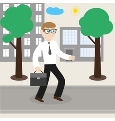 Businessman goes to work to office vector image