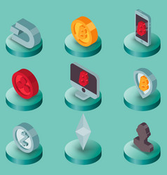 Cryptocurrency flat isometric icons vector