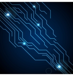 Dark blue circuit board technology background vector