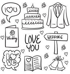 Doodle of wedding various element hand draw vector