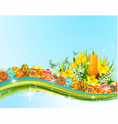 Easter egg and flower banner for holiday design vector