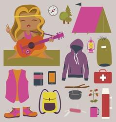 Fashionable camping set vector