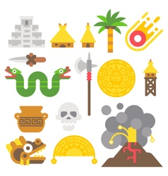 Flat design mayan items set vector