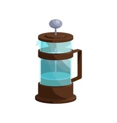 French press coffee icon cartoon style vector