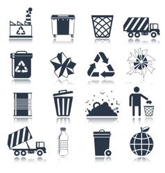 Garbage icons black vector image