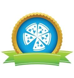 Gold pizza logo vector