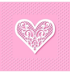 Greeting card with a lace heart vector