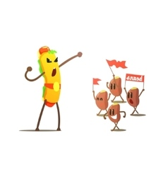 Hot dog against beans cartoon fight vector