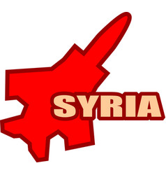 Jet bomber outline model and syria text vector