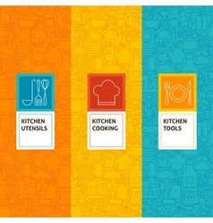 Line Kitchen Cooking Patterns Set vector image vector image