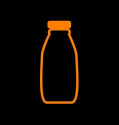 Milk bottle sign orange icon on black background vector