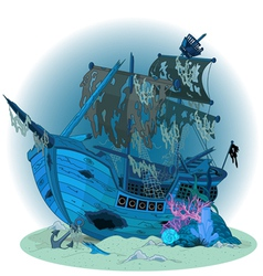 Old ship background vector