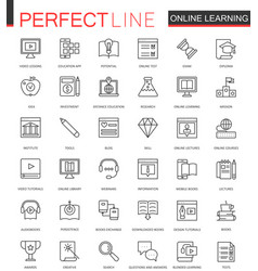online education thin line web icons set vector image vector image