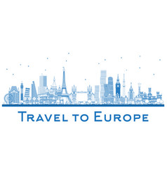 outline famous landmarks in europe london paris vector image vector image