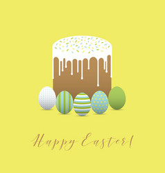 painted eggs with easter cake hapy easter vector image
