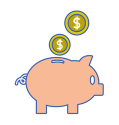 Piggy to save money and coins with peso symbol vector