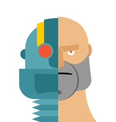 Robots head cyborg and people iron person and man vector