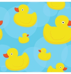 Rubber duck blue pattern vector image