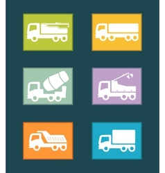 set colorful industrial transport icon vector image