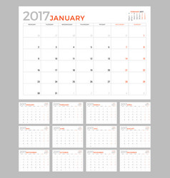Set of calendar pages for 2017 year design vector